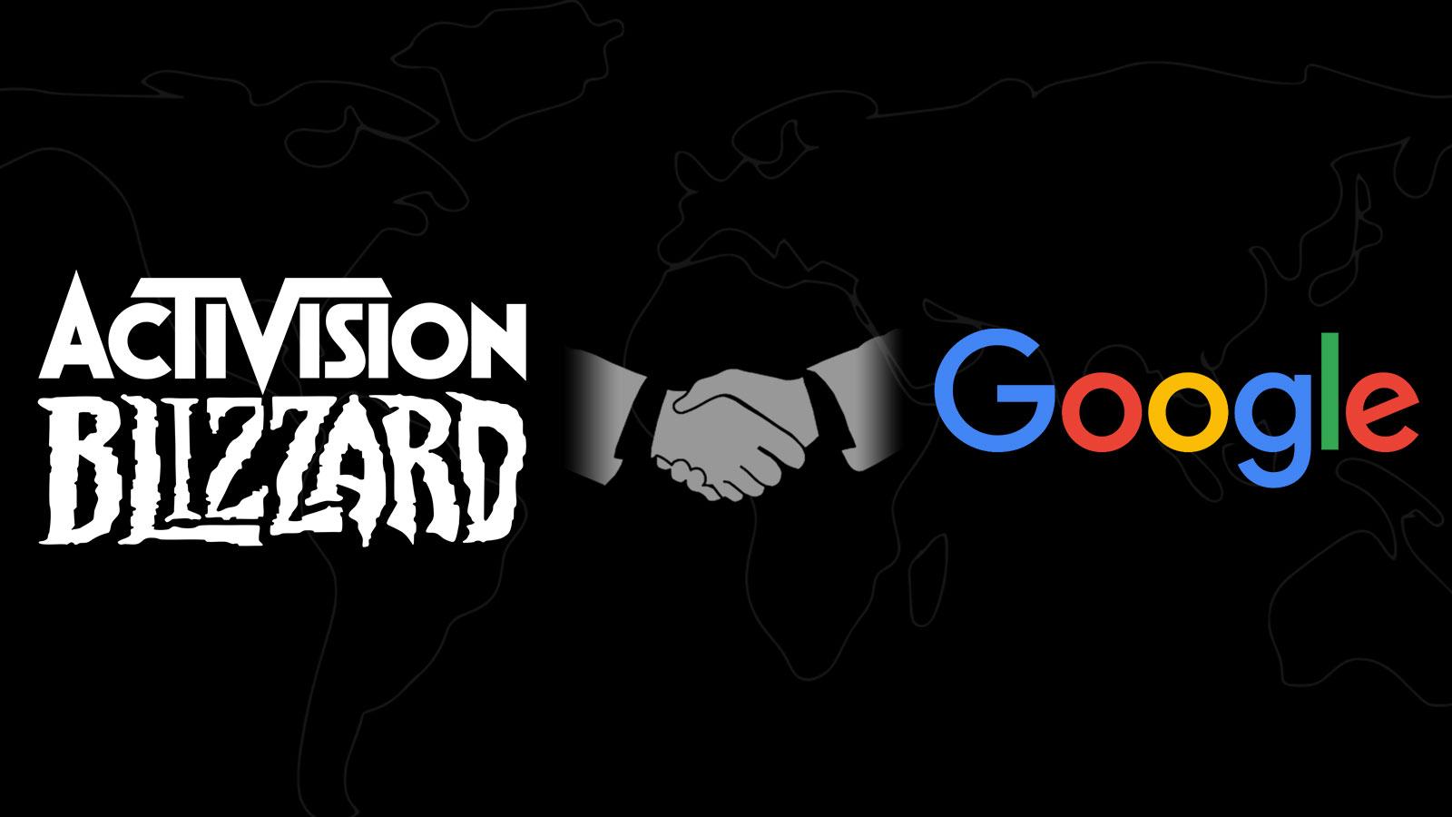 Logos d'Activision Blizzard et de Google avec une poignée de main