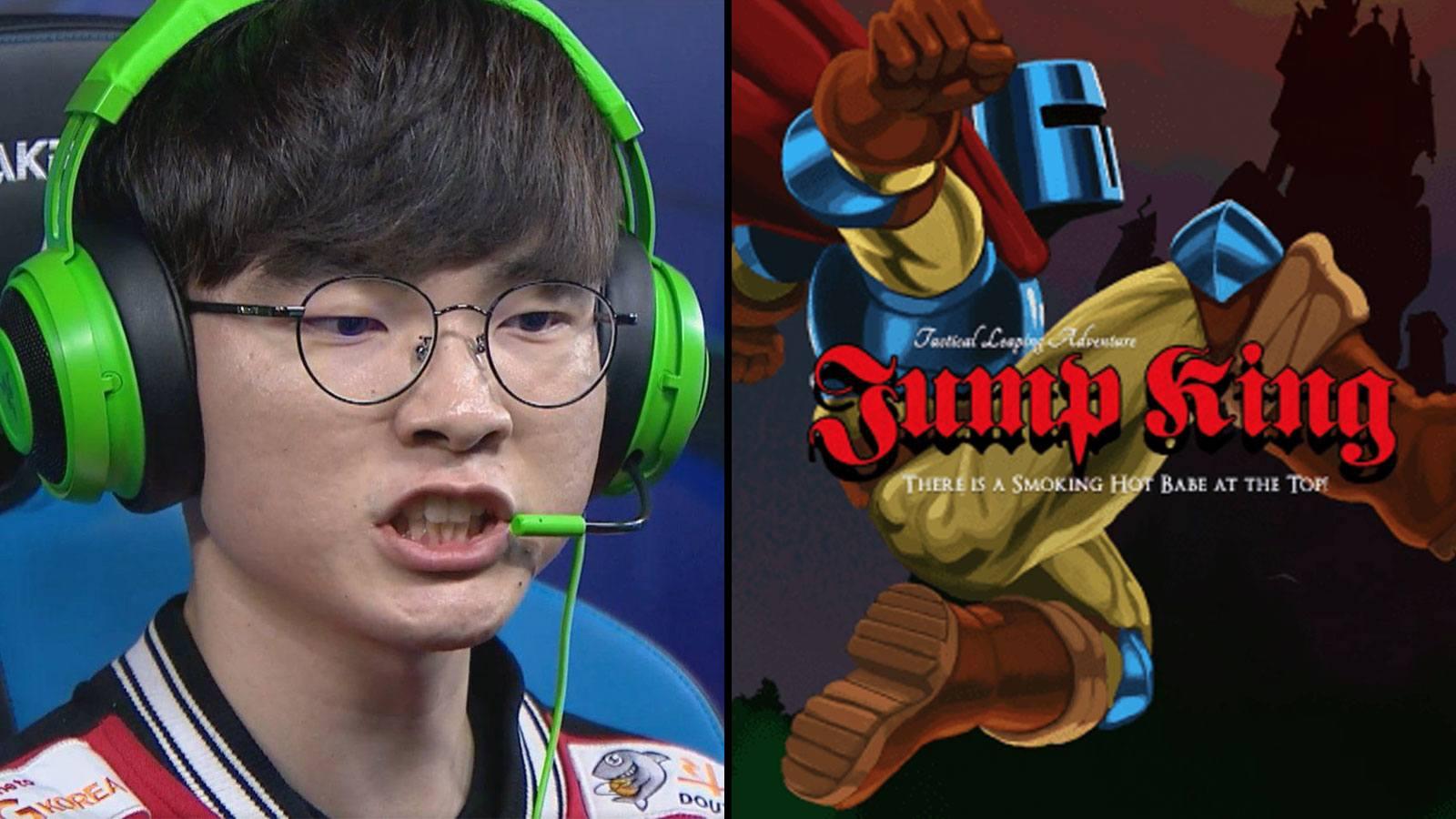Faker en colère avec l'affiche de Jump King