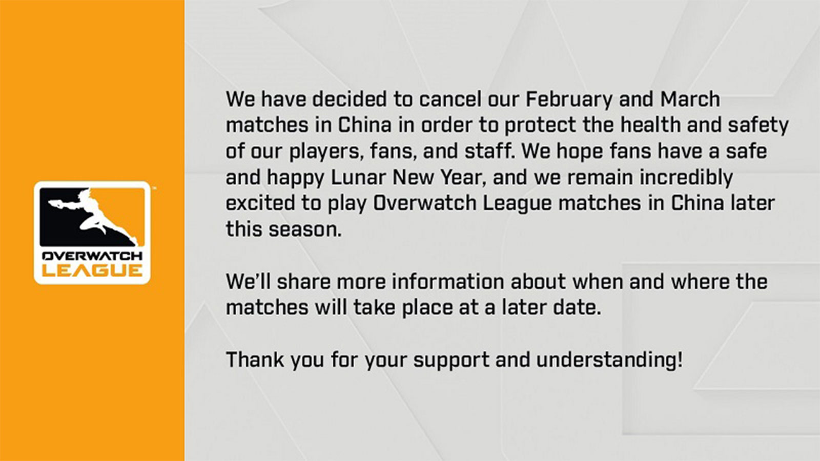 En raison du Coronavirus, les matchs de l'Overwatch League en Chine sont annulés