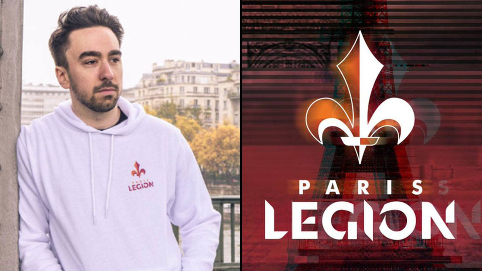 Le joueur français Breszy face au logo de Paris legion