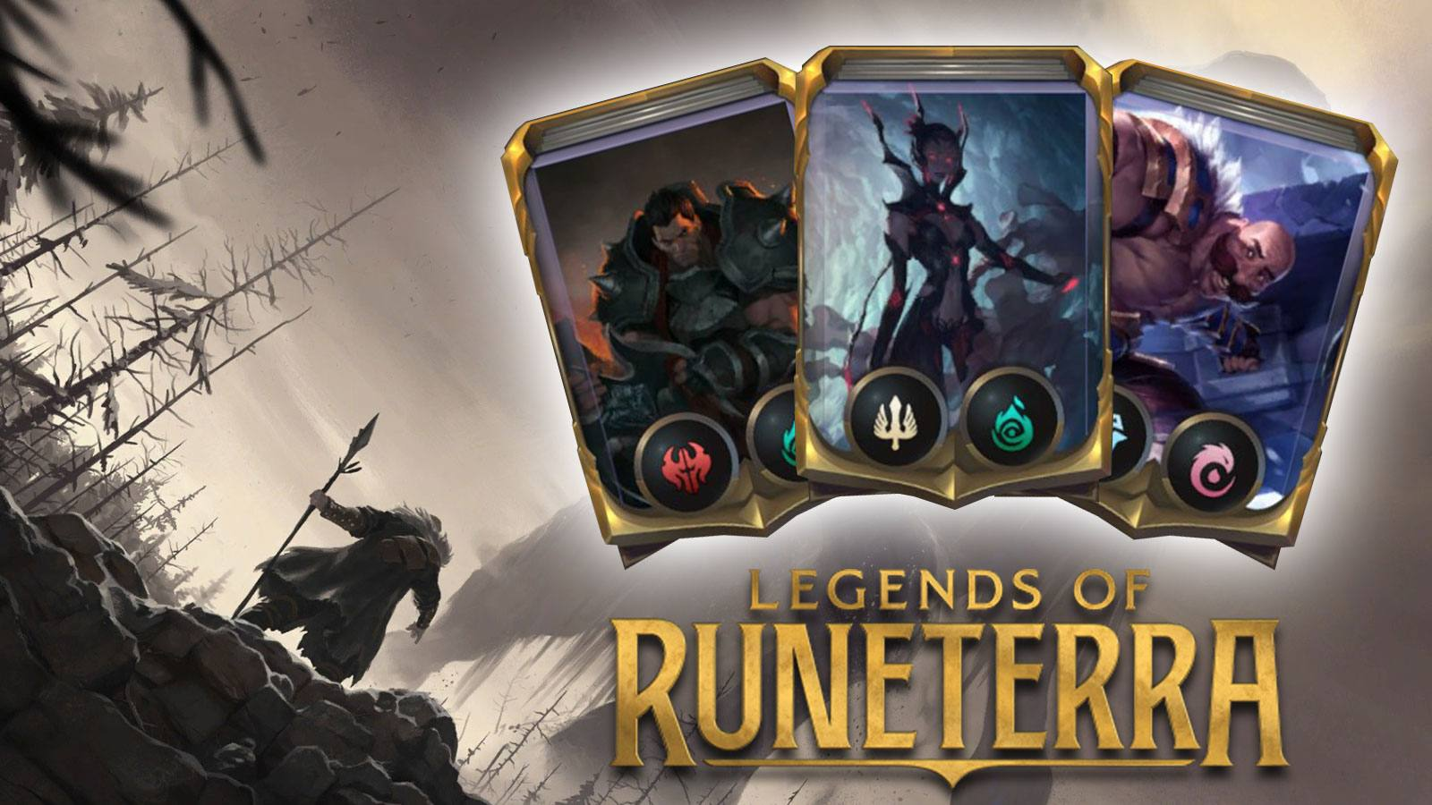 3 decks surplombant le logo de Legends of Runeterra
