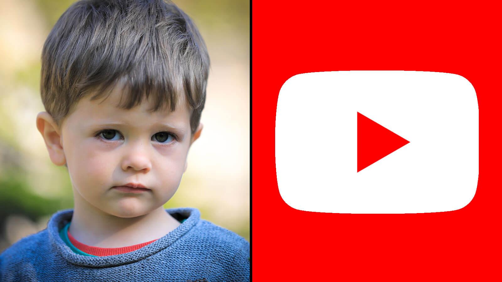 Un enfant triste face au logo de YouTube