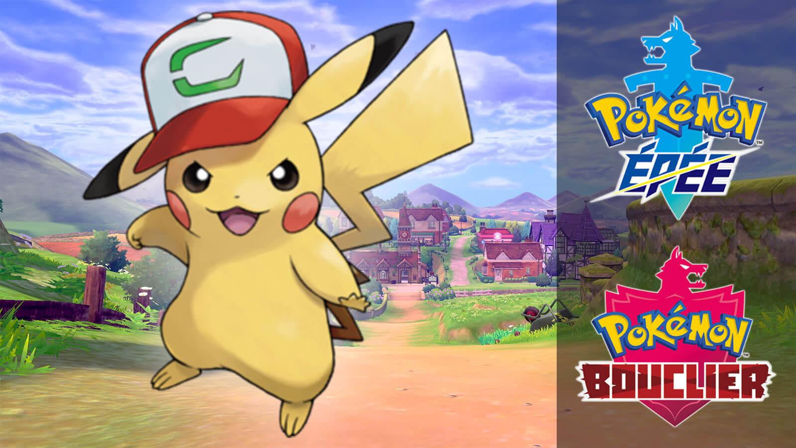 Pikachu avec la casquette de Sasha dans Pokémon Épée et Bouclier
