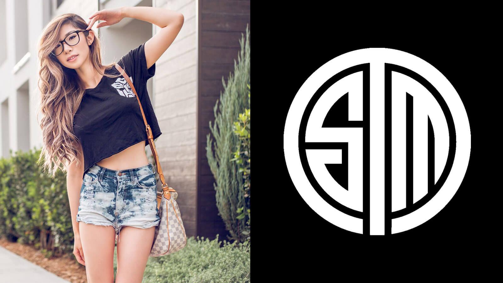 Leena Xu et le logo de Team Solomid