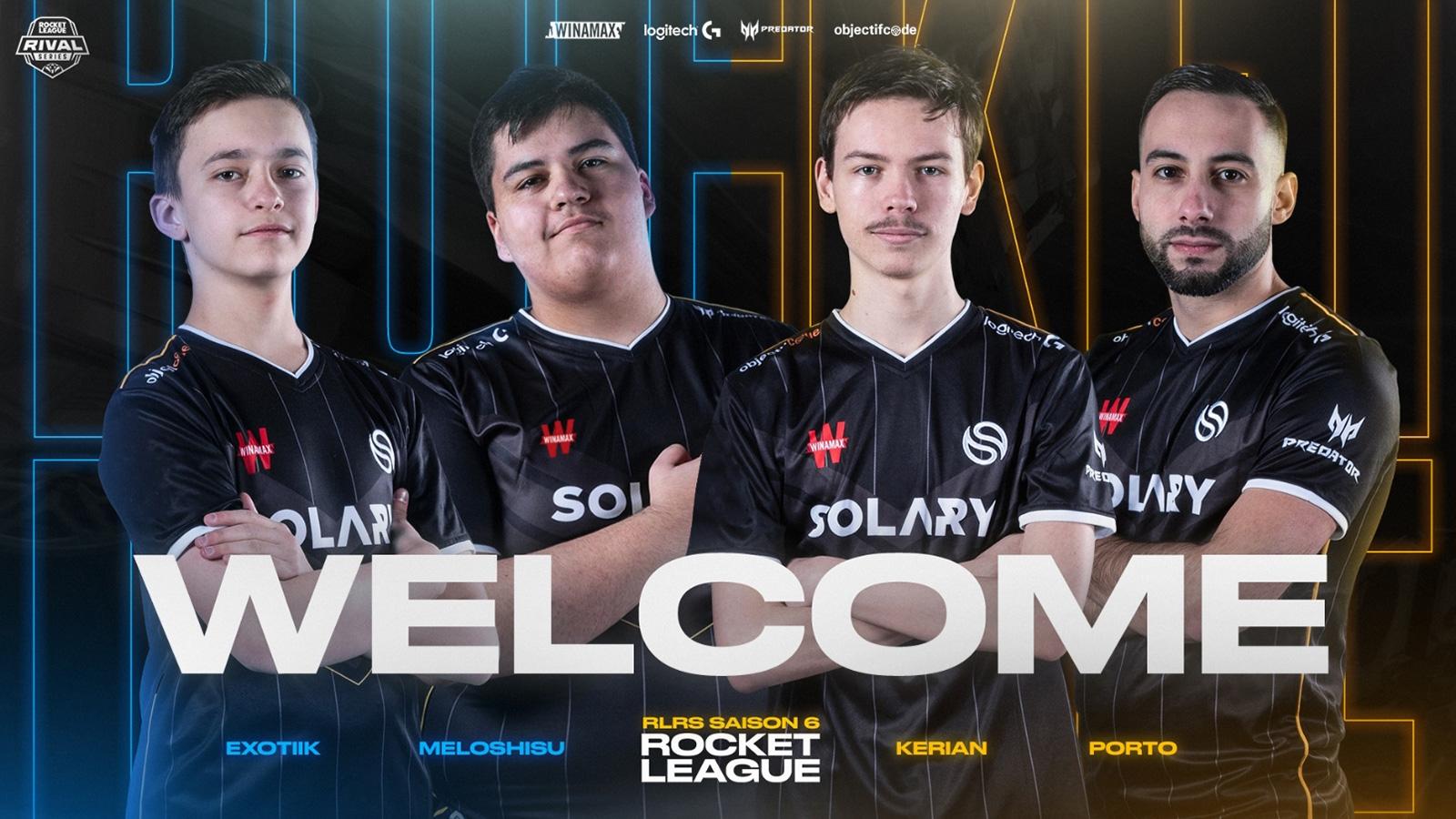 ExoTiiK, Meloshisu, Kérian et Porto portant les couleurs de l'équipe Solary sur Rocket League