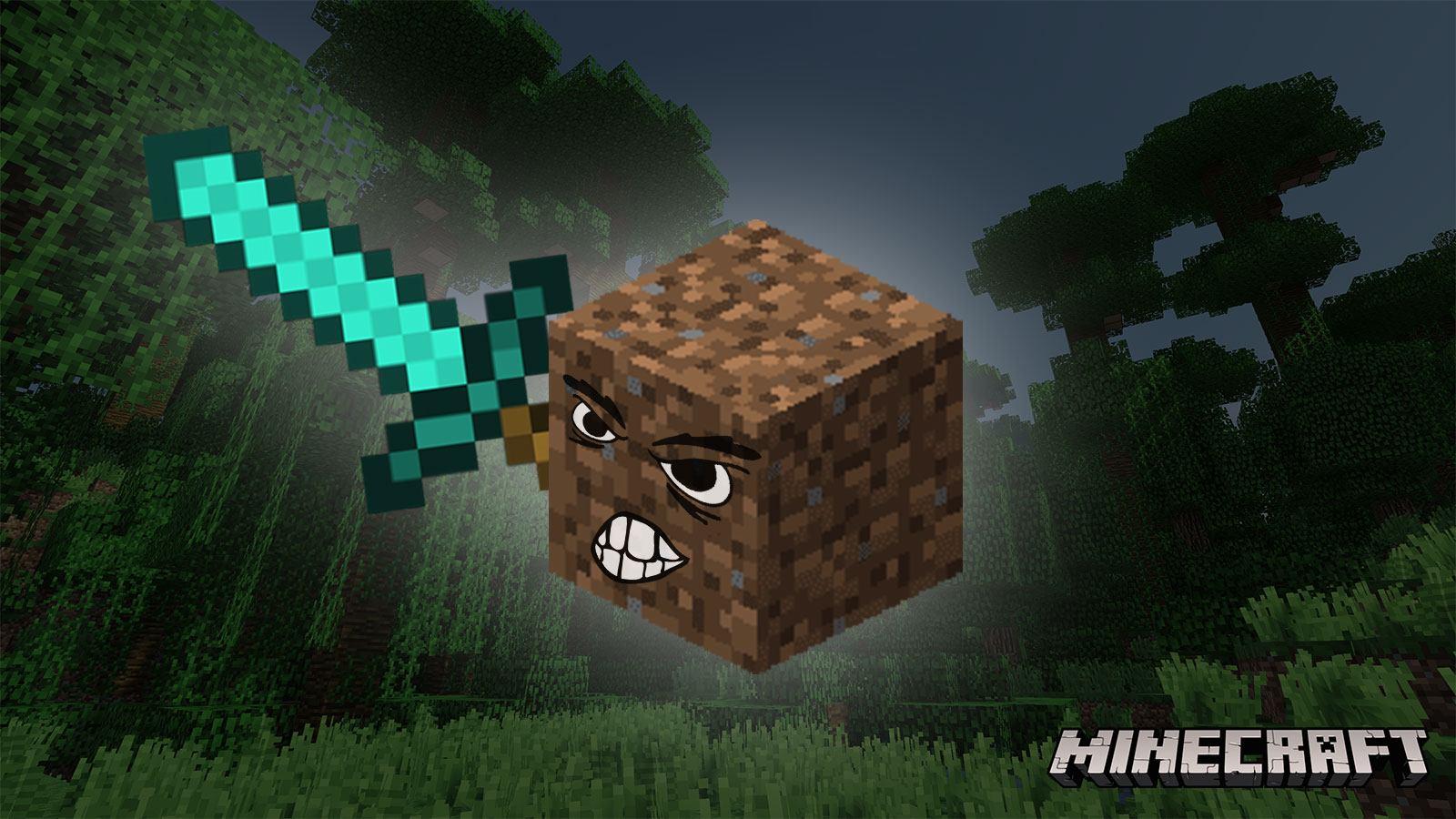 Un bloc de terre avec une épée en diamant dans Minecraft