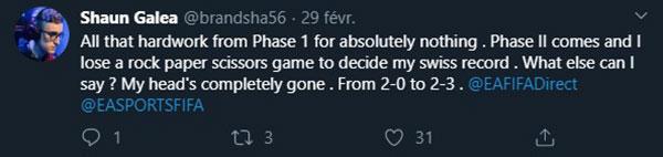 Tweet de Brandhsa suite à son élimination de la FUT Champions Cup