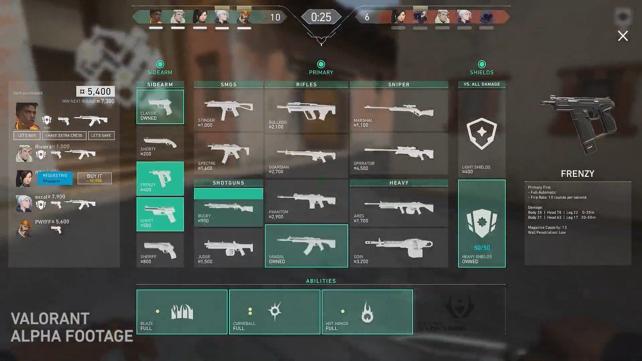 Menu d'achat Valorant Riot Games