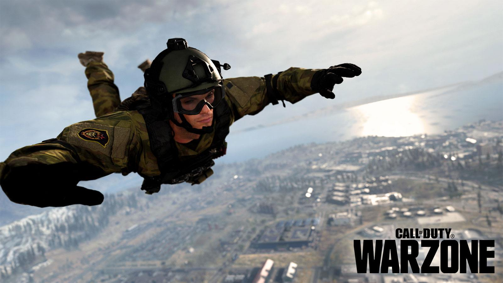 Un joueur en chute libre dans CoD Warzone