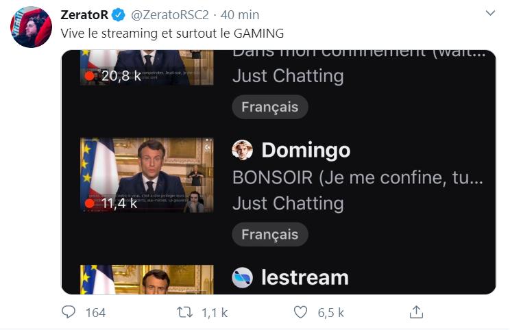L'allocution d'Emmanuel Macron était très présente sur Twitch