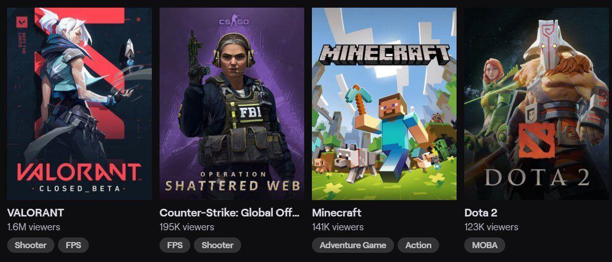 Twitch catégorie jeux