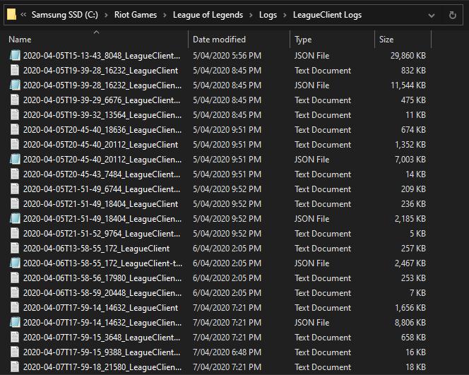 Fichiers Logs LEague of Legends Riot Games