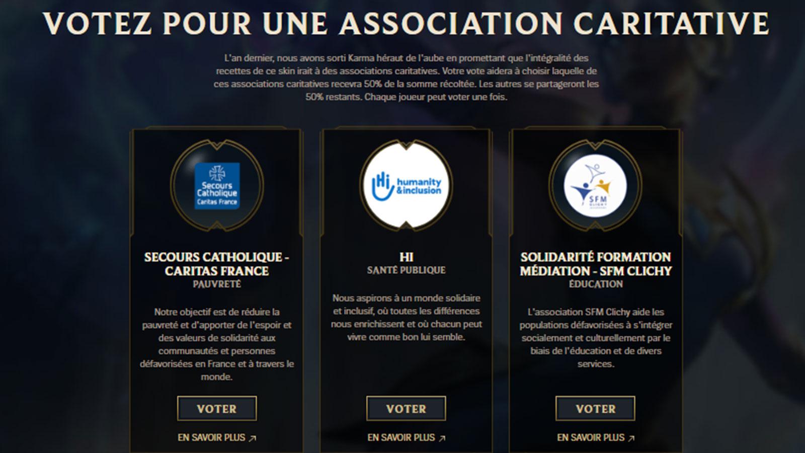 Les joueurs peuvent choisir l'association à qui ira les fonds
