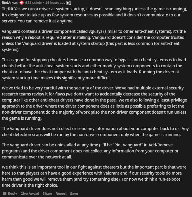 Reddit critiques logiciel Vanguard