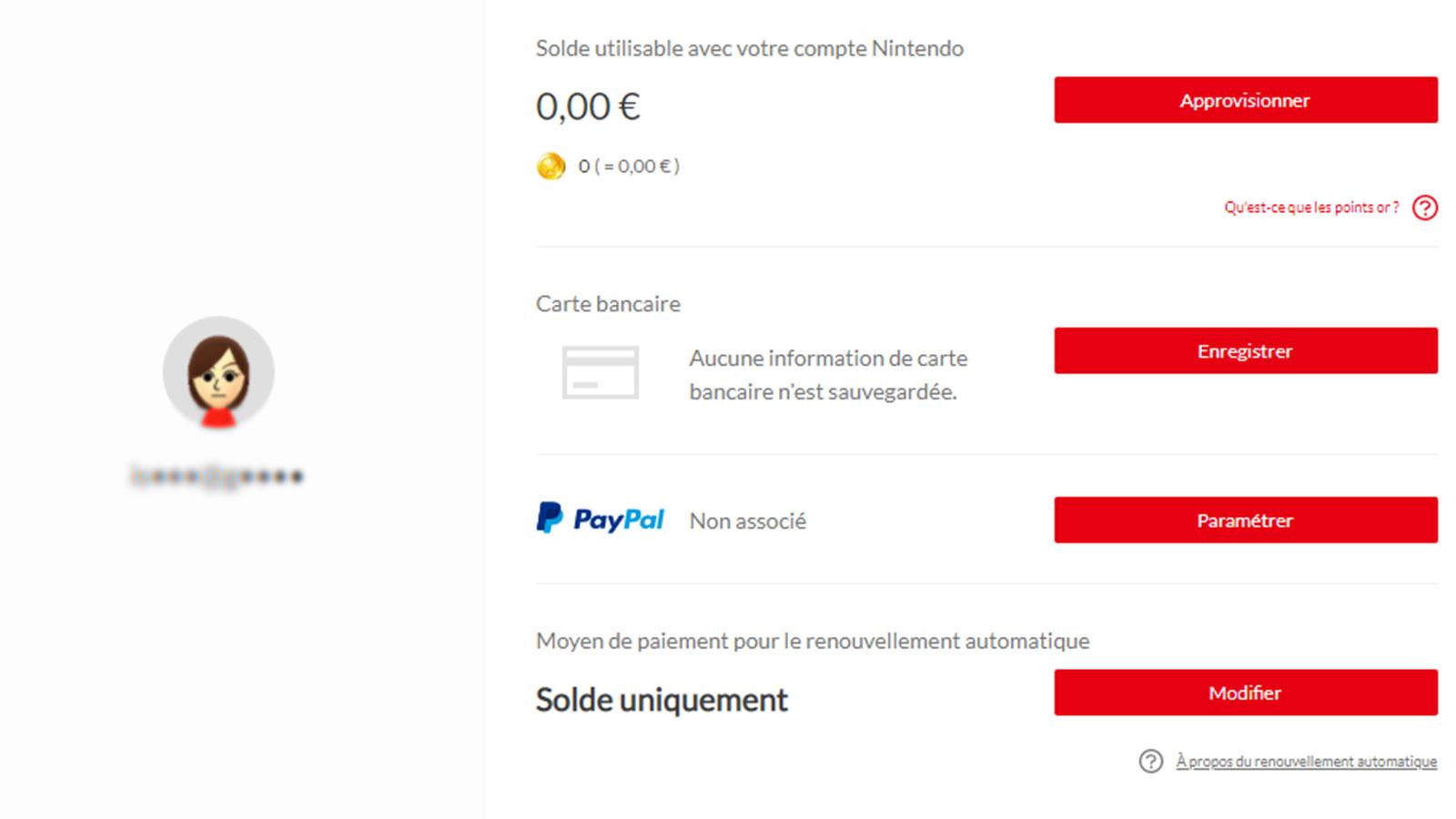 Mieux vaut dissociez son compte Paypal de son compte Nintendo