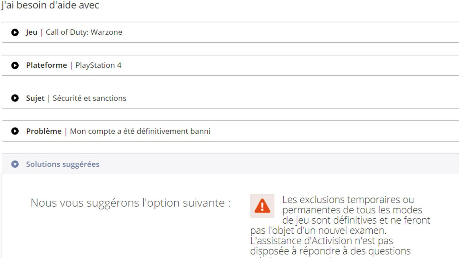 support Activision Warzone ban compte