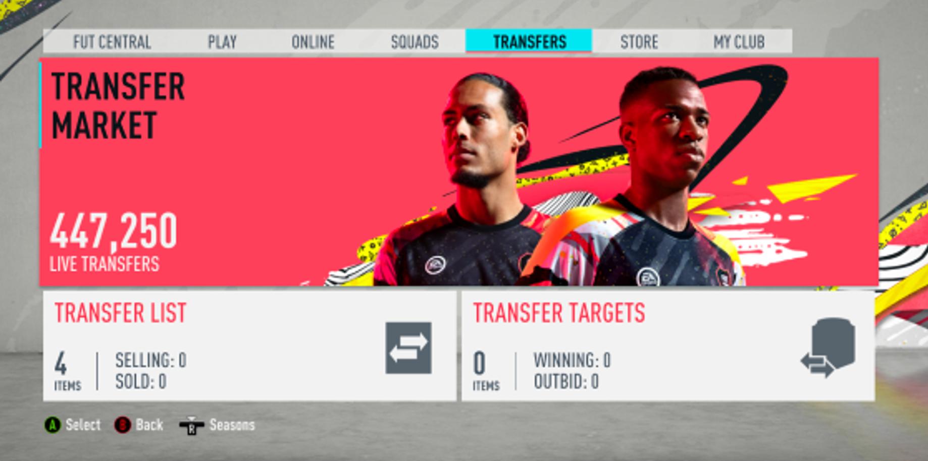 FIFA 20 onglet Transferts
