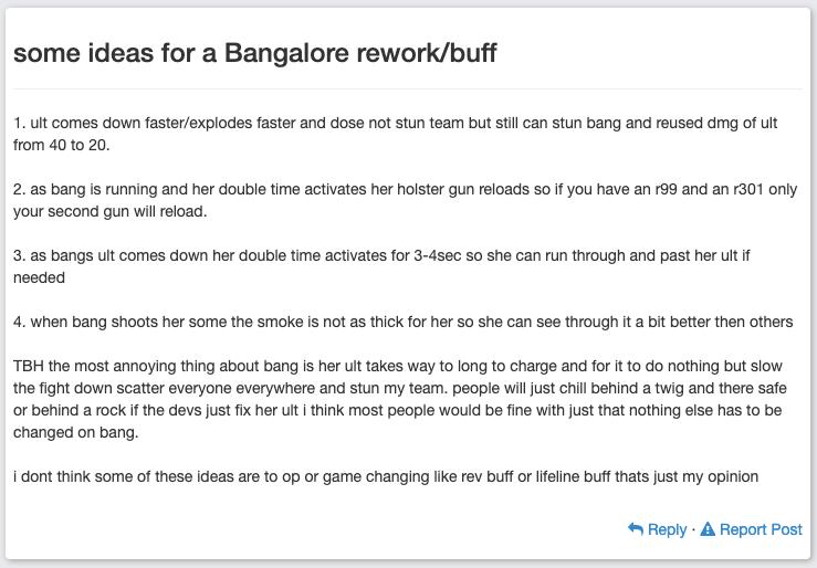 Idée de changements pour Bangalore - Apex Legends
