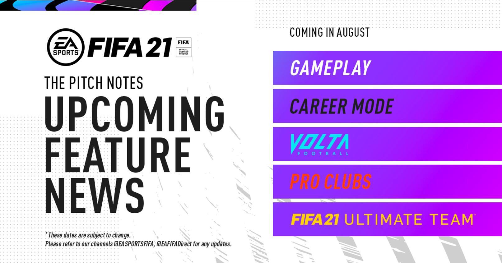 EA SPORTS FIFA 21 fonctionnalités à venir