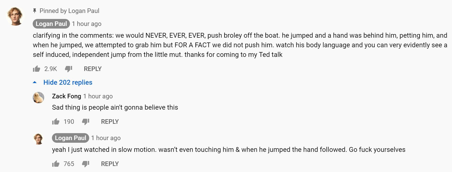 Le youtubeur a répondu à ses détracteurs