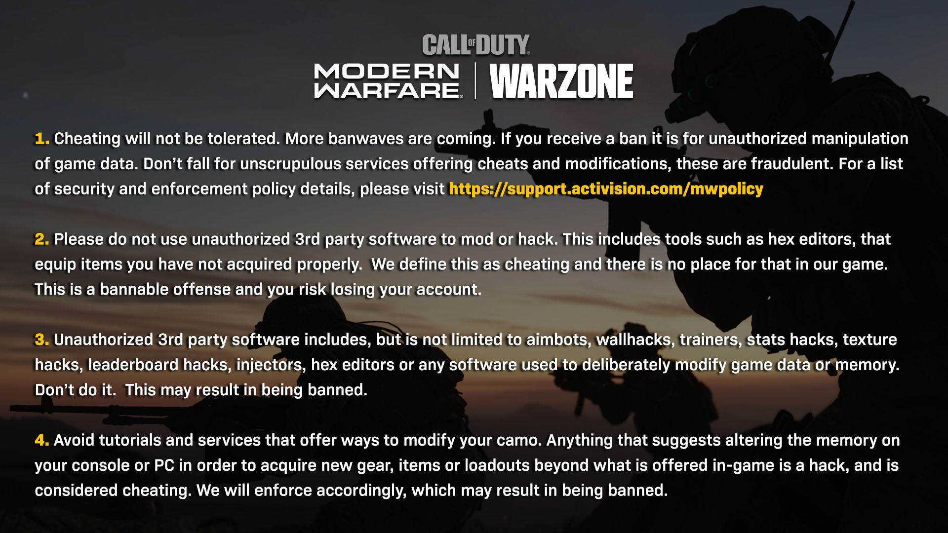 La triche dans Warzone