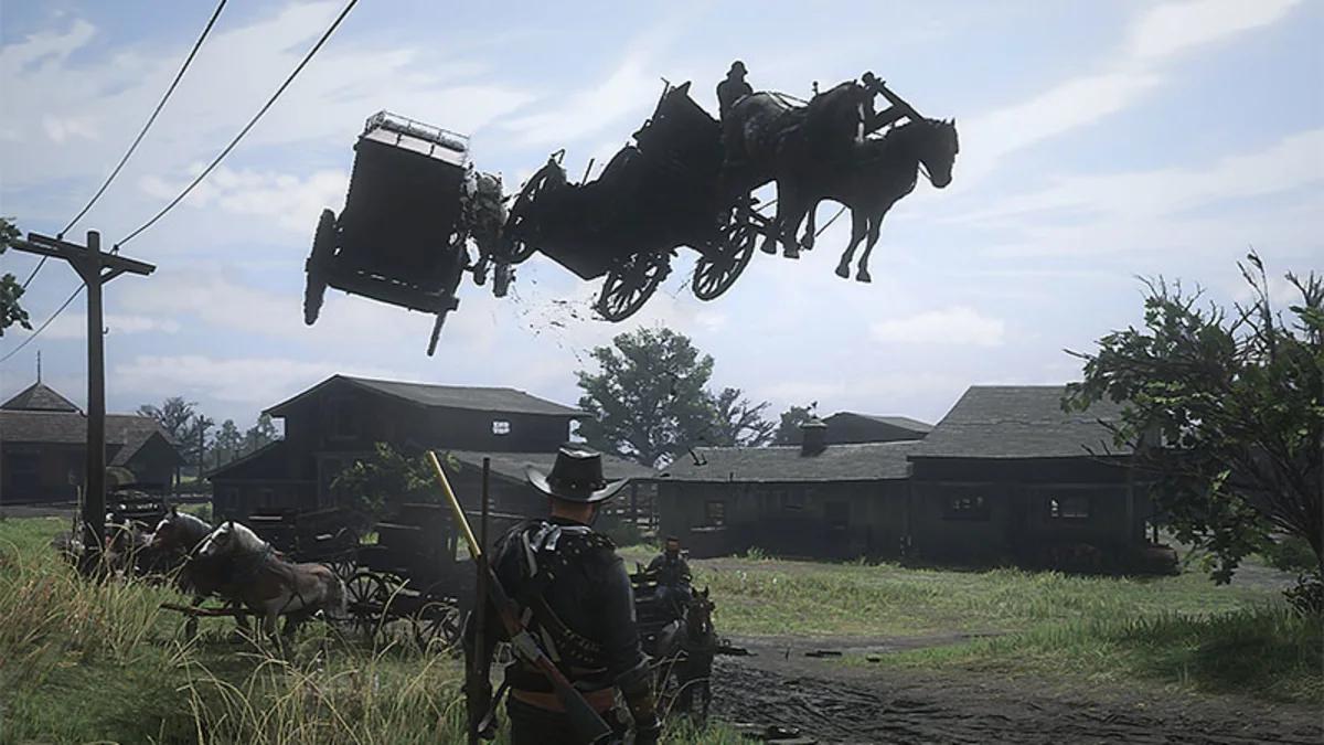 Red Dead Online chariot volant Rockstar Studios