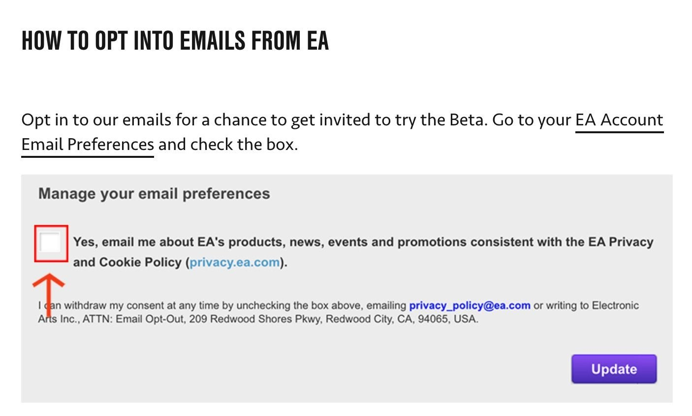newsletter EA SPORTS FIFA 21