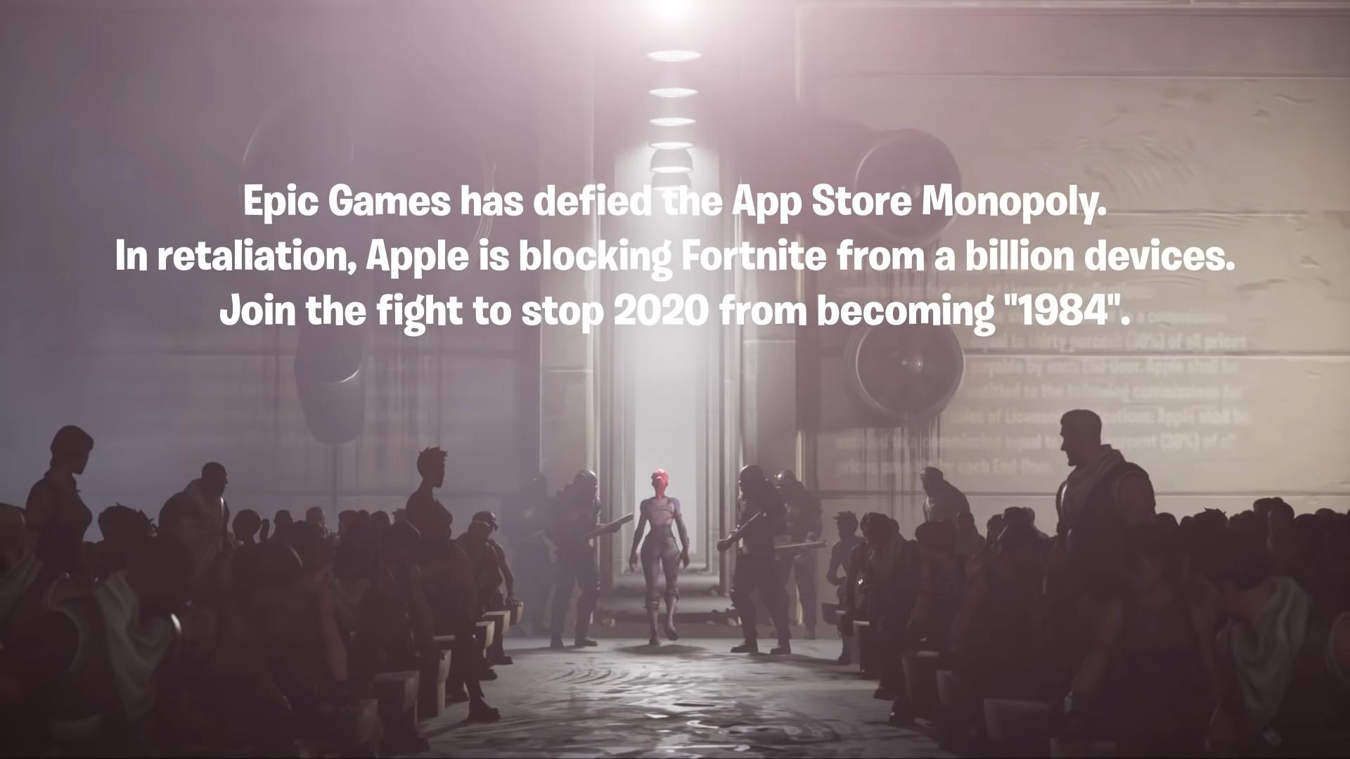 parodie Fortnite Epic Games Apple 1984