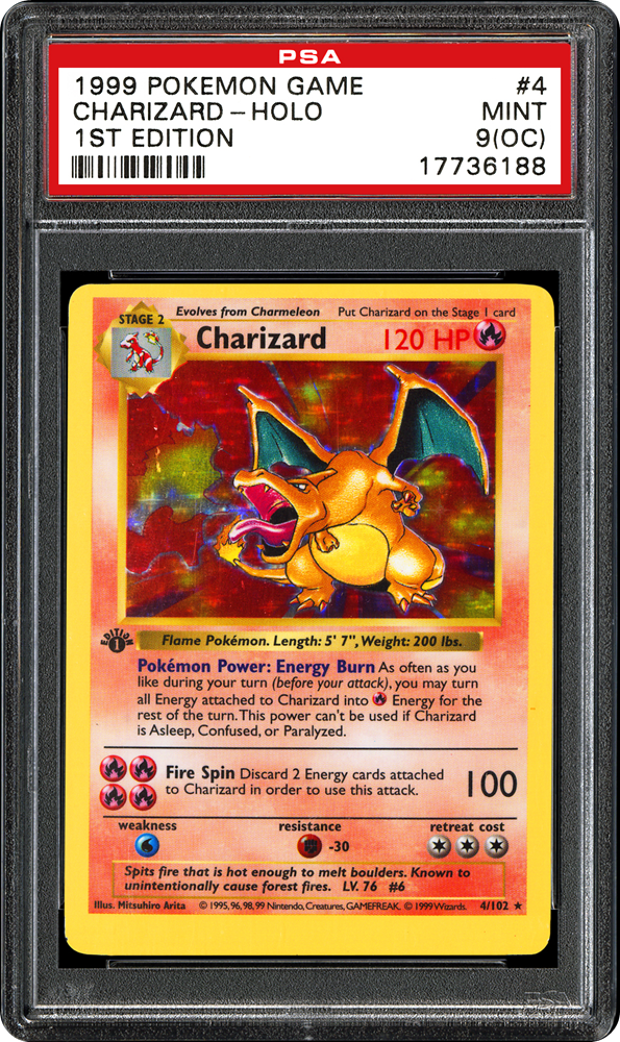 Carte Pokémon PSA Dracaufeu 1st édition shadowless
