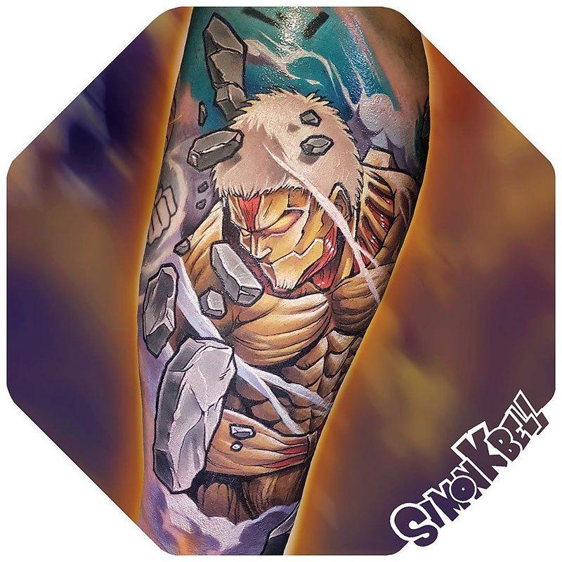 Tatouage du Titan Cuirassé dans l'Attaque des Titans