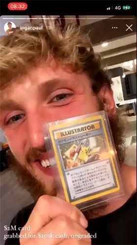 Logan Paul avec la carte Pokémon Pikachu Illustrator