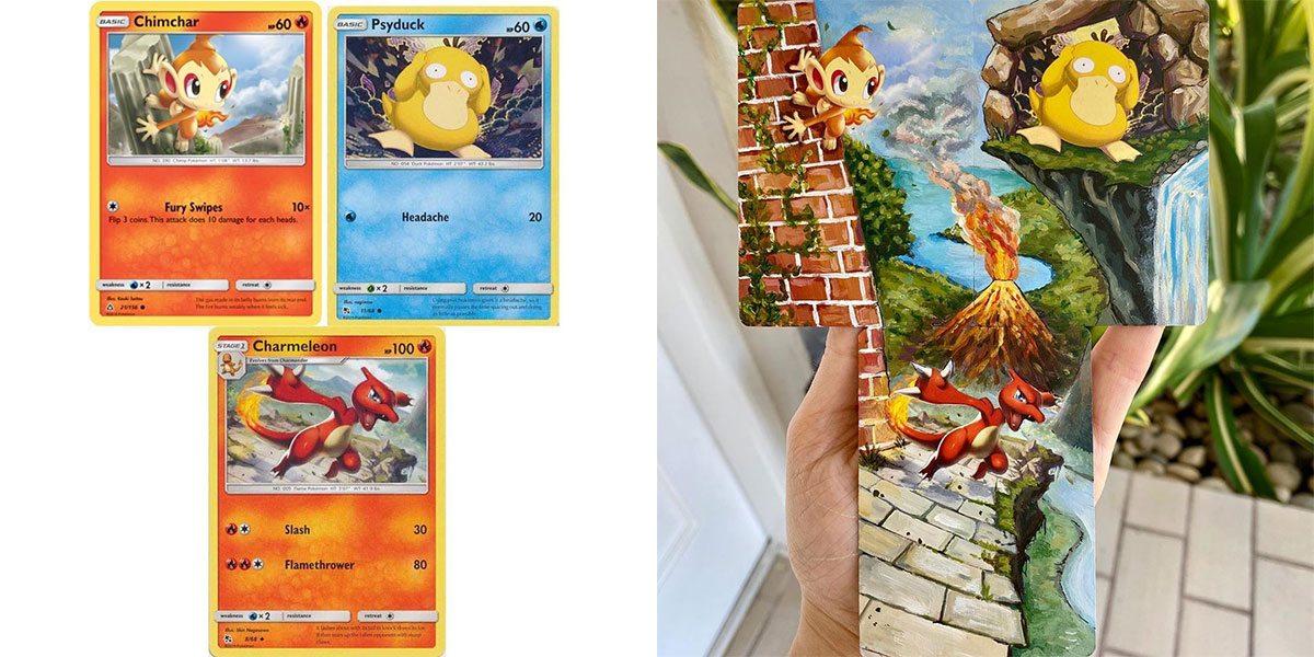 Peinture sur carte Pokémon