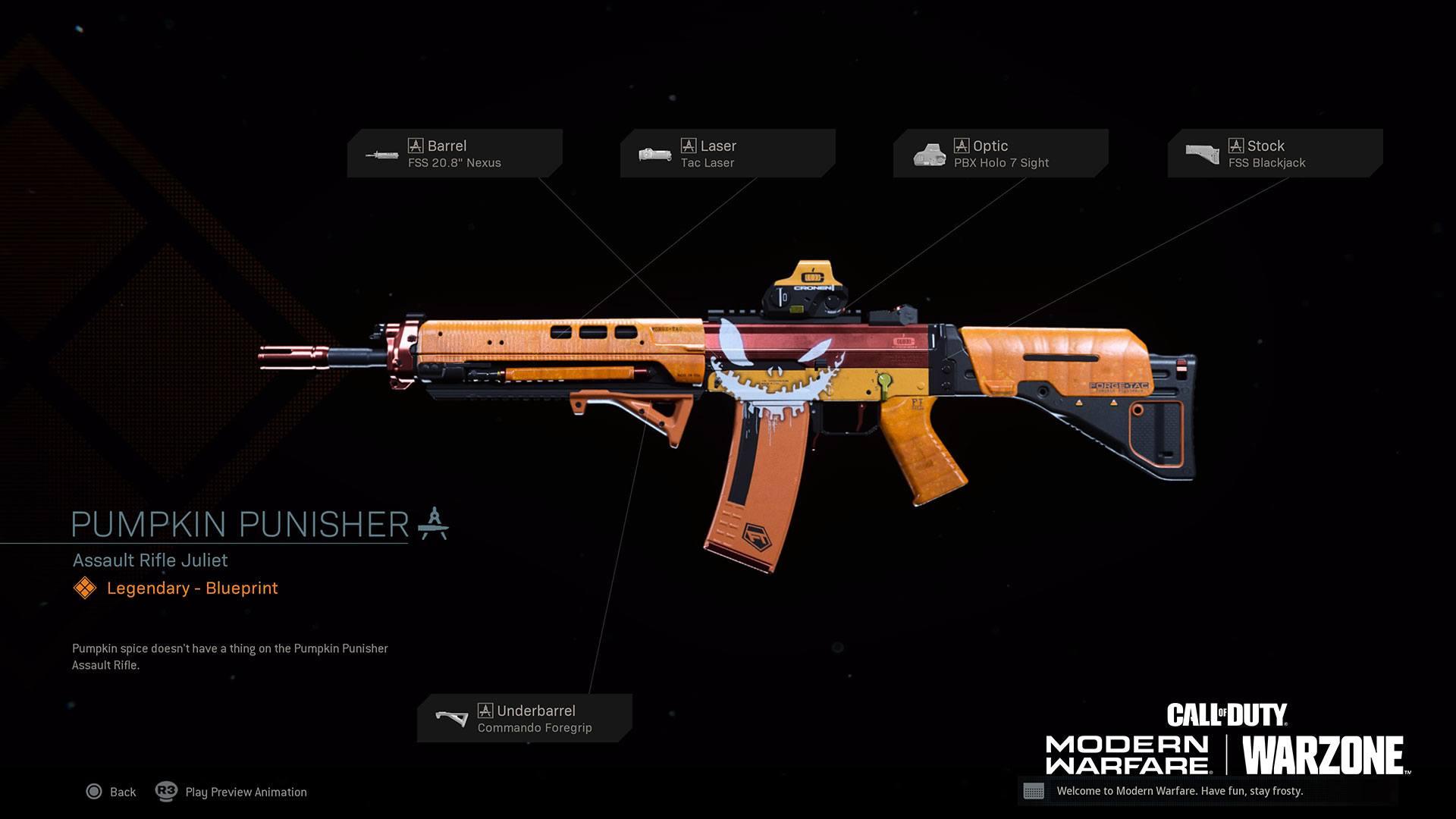 Warzone événement récompense Activision : pumpkin punisher