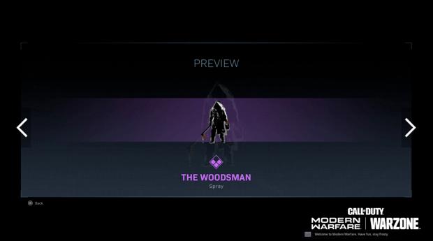 Warzone événement récompense Activision : woodsman