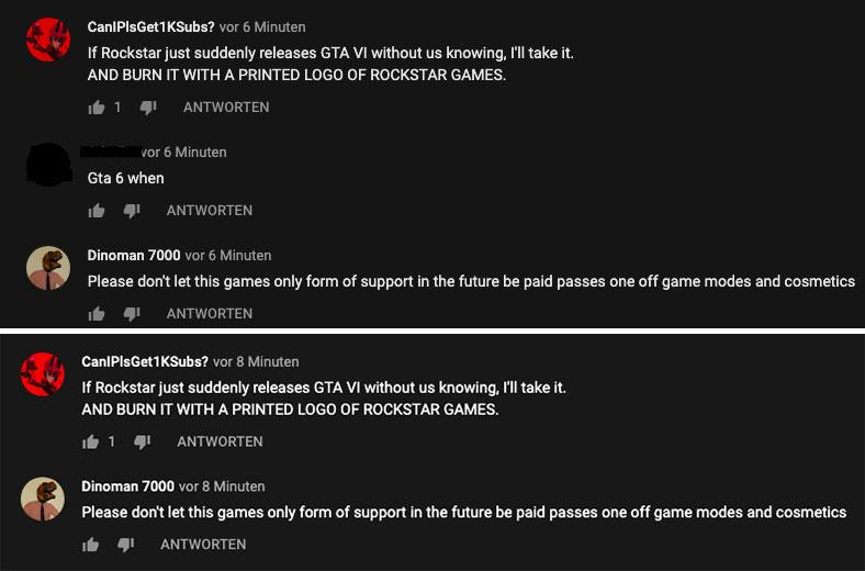 Commentaire YouTube GTA 6