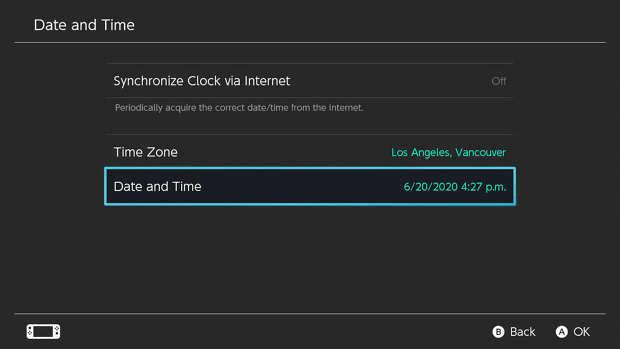 réglages Nintendo Switch date et heure