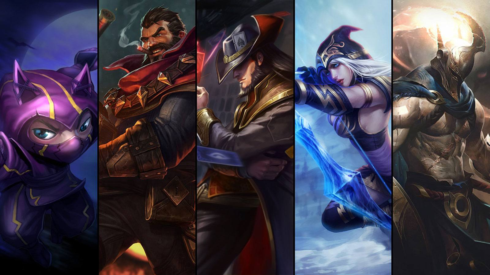 Kennen, Graves, Twisted Fate, Ashe et Pantheon