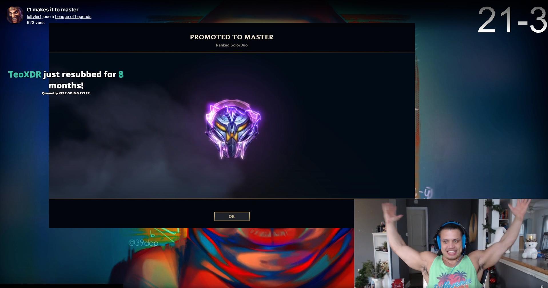 Tyler1 a atteint le master sur Twitch