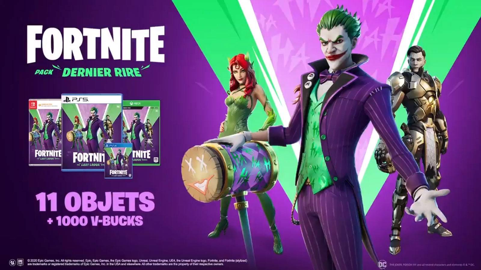 Fortnite Epic Games pack Dernier Rire DC Comics