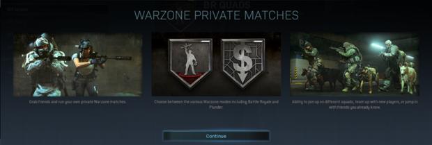 les parties privées ont récemment débarqué sur Warzone
