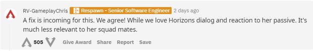 Horizon va avoir droit à de nouveaux dialogues sur Apex