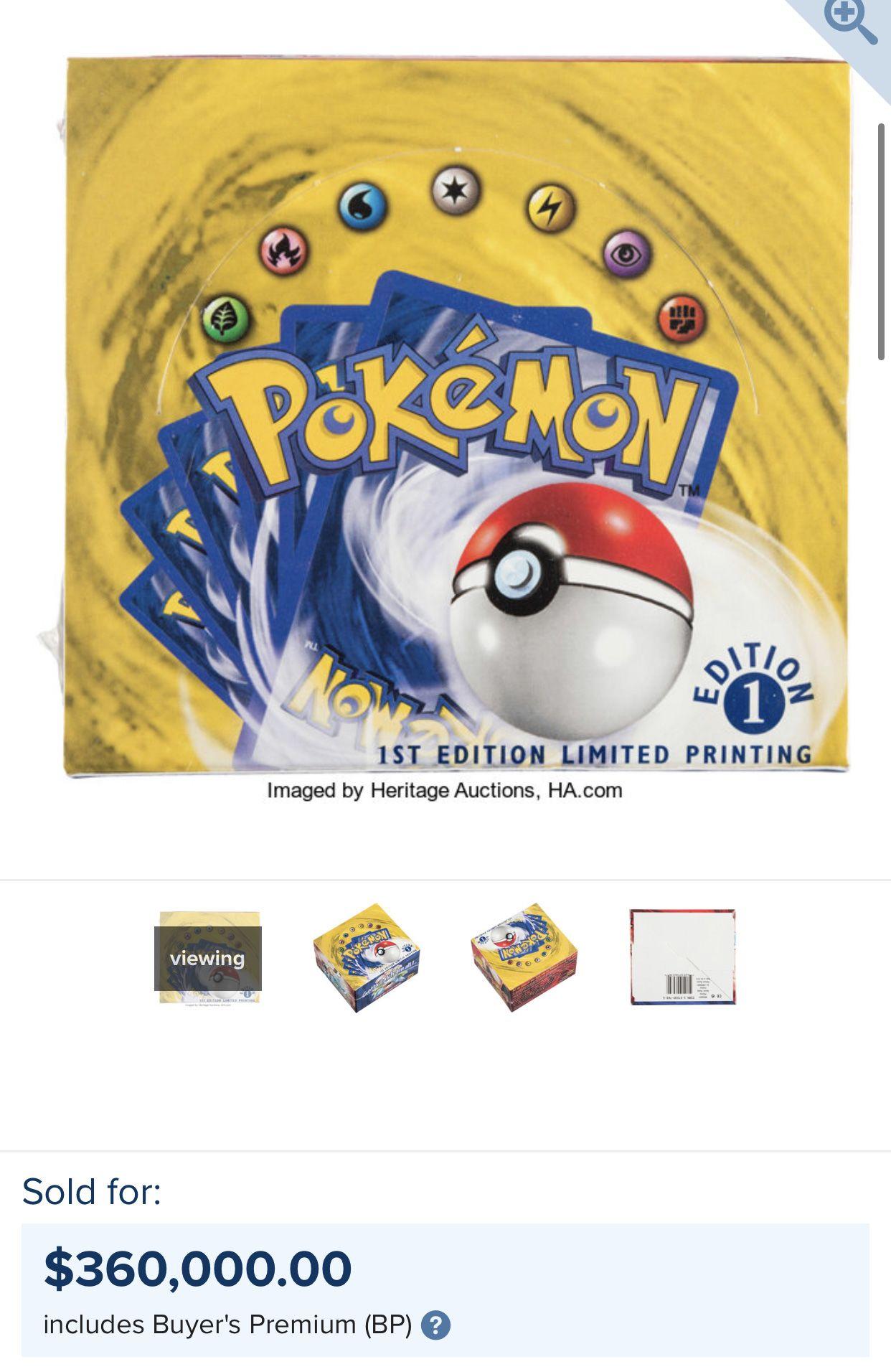 vente Heritage Auctions display Pokémon 360 000$