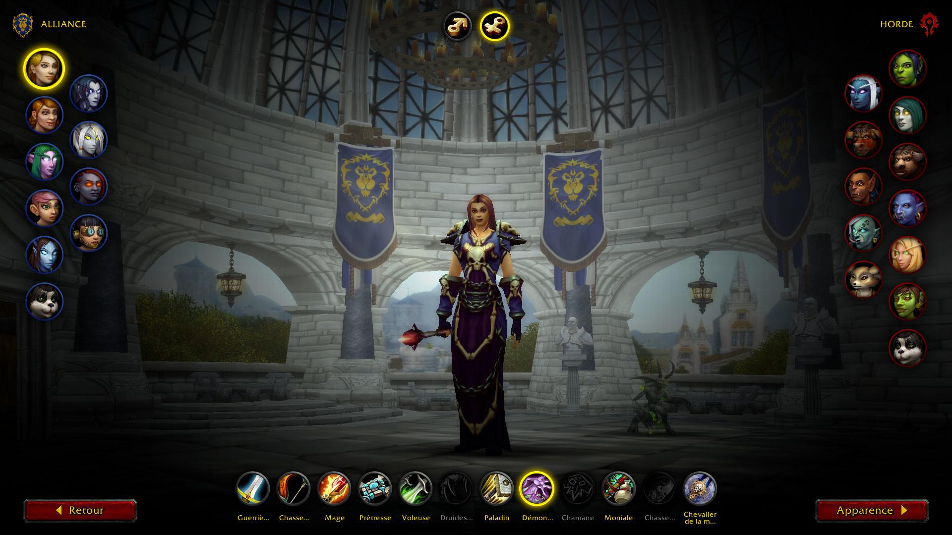 Une capture d'écran de la fenêtre de personnalisation des personnages pour World of Warcraft