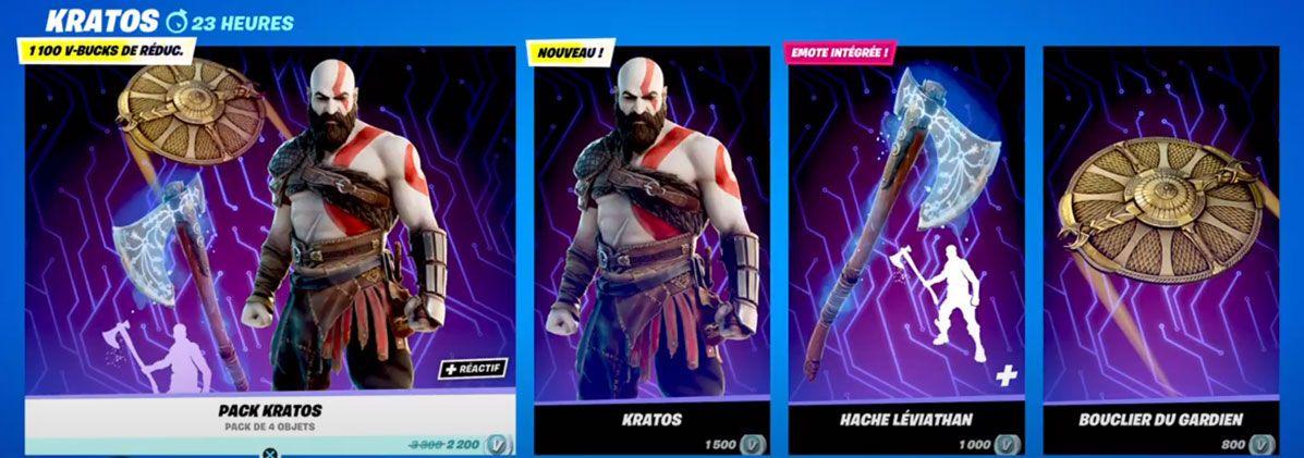 Boutique Fortnite du 4 décembre - Kratos