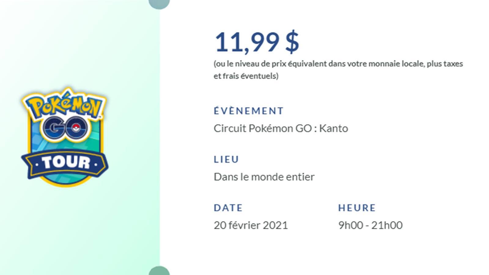 Pokémon Go Tour billet détails Niantic