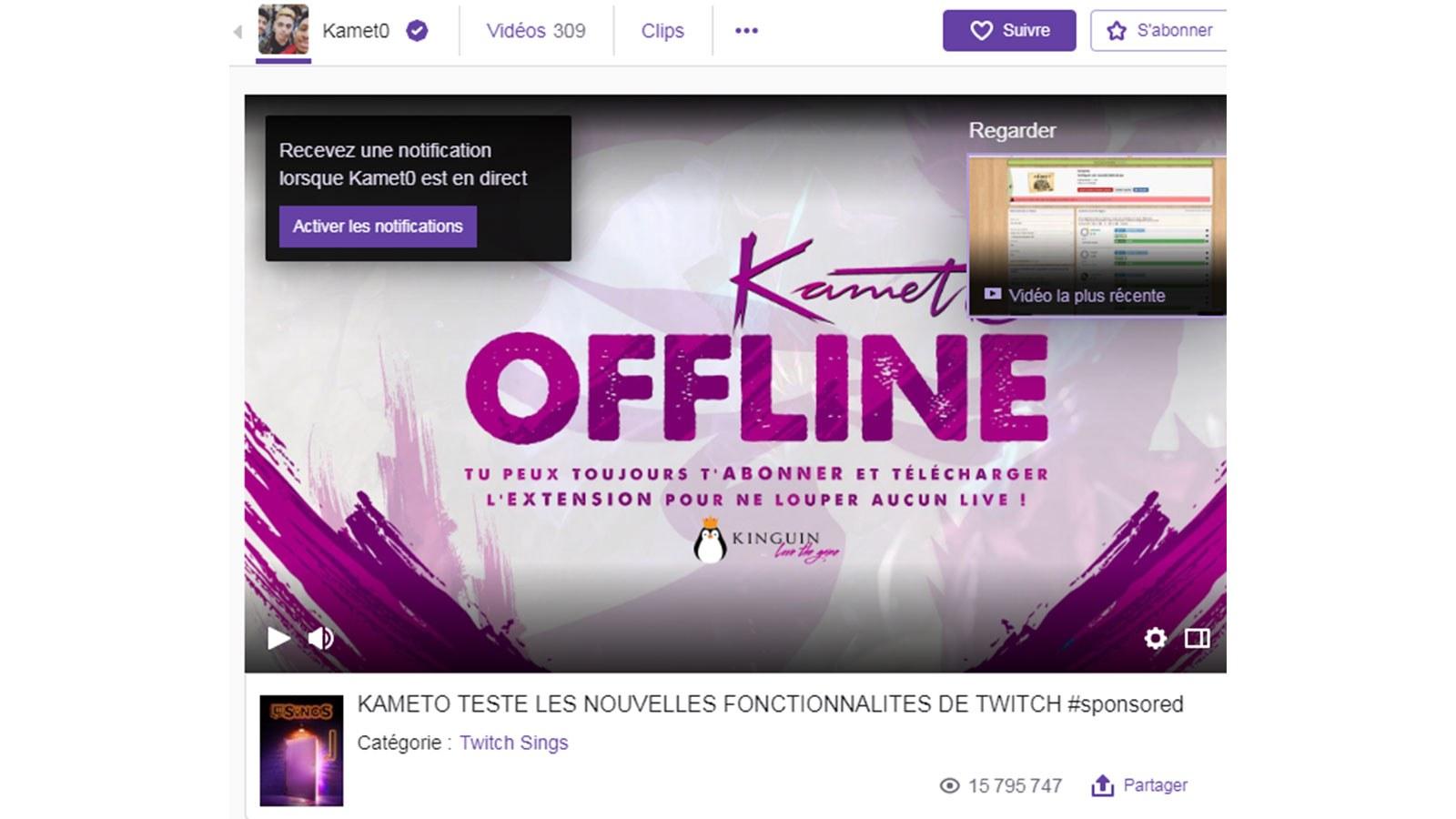 chaîne Twitch de Kameto