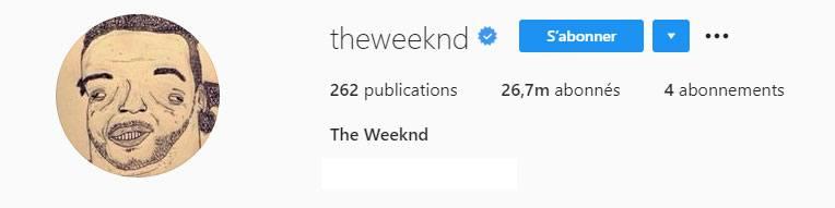 Photo de profil Instagram de The Weeknd
