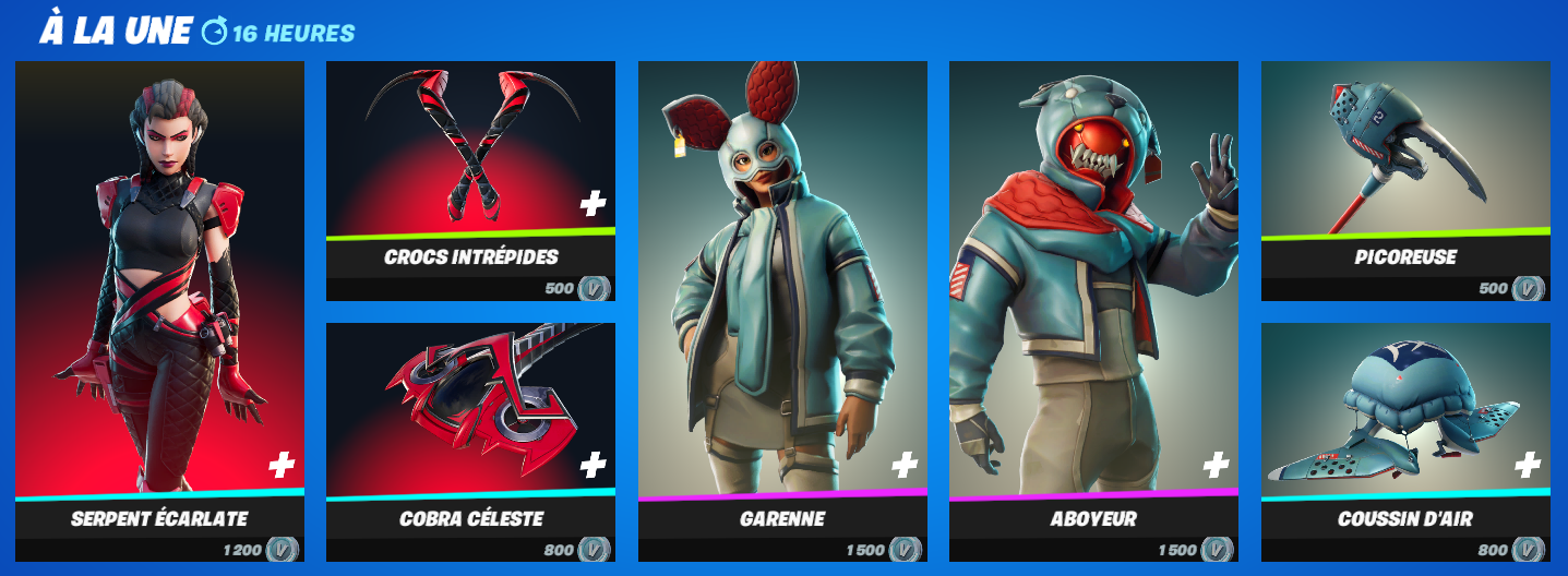 La boutique fortnite du jour