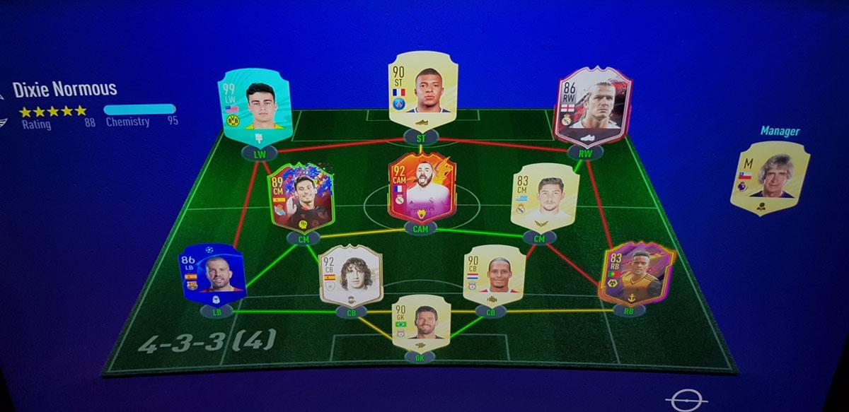 L'équipe FUT de Giovanni Reyna sur FIFA 21