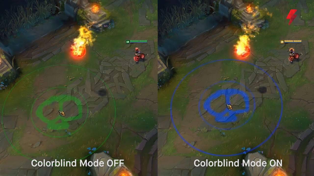 Comparaison avec et sans mode daltonien sur LoL